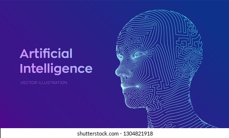 AI. Artificial intelligence concept. Ai digital brain. Abstract digital human face. Human head in robot digital computer interpretation. Robotics concept. Wireframe head concept. Vector illustration.