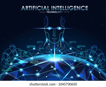 AI, Artificial Intelligence,  concept. Holographic earth and robotic cyborg change the world.