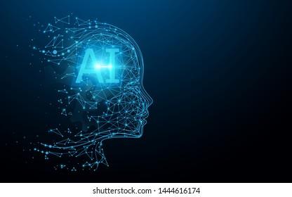 AI - Künstliche Intelligenz. Ai digitales Gehirn. Robotik-Konzept. Menschliches Gesicht aus Polygon. Illustrationsvektor