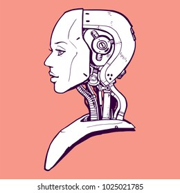 AI. Artificial Intelligence, futuristic female robot hand-drawn sketch style vector