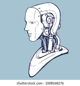 AI. Artificial Intelligence, futuristic robot hand-drawn sketch style vector