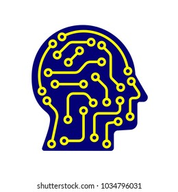 AI artificial intelligence icon. Techno human head logo concept creative idea sign learning icon people. EPS 10