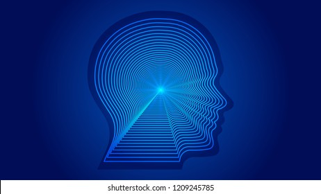 AI artificial intelligence, lines constitute human head contour. Science and technology and engineering concepts.
