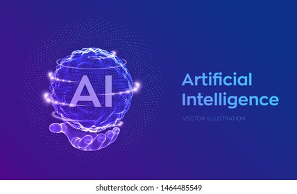 AI. Artificial Intelligence Logo in hand. Artificial Intelligence and Machine Learning Concept. Sphere grid wave with binary code. Big data innovation technology. Neural networks. Vector illustration.