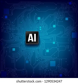 AI Artificial intelligence technology cpu chipset with print circuit board dot connection line element abstract background vector illustration eps10