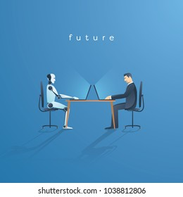 Ai or artificial intelligence vector concept with ai robot working with human. Symbol of future cooperation, technology advance, innovation. Eps10 vector illustration.