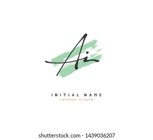 A I AI Beauty vector initial logo, handwriting logo of initial signature, wedding, fashion, jewerly, boutique, floral and botanical with creative template for any company or business.