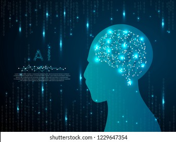 Ai brain low poly robot image. Vector polygonal wireframe closeup mobile phone with gradient blue screen with man hand and fingers. Illustration dark blue Binary code matrix background