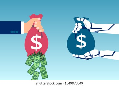 AI and business savings concept. Vector of a robot hand holding sack of money and businessman loosing profit due to inefficient management