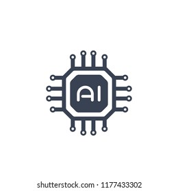AI chipset, artificial intelligence technology icon