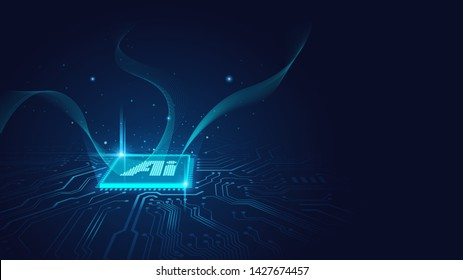 Ai chipset on circuit board working on data analysis in futuristic concept suitable for future technology artwork , Background or web banner