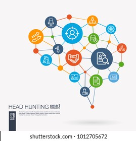 AI creative think system concept. Digital mesh smart brain idea. Futuristic interact neural network grid connect. Job search, head hunting, we are hiring, team work integrated business vector icons.