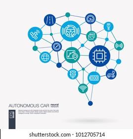AI creative think system concept. Digital mesh smart brain idea. Futuristic interact neural network grid connect. Autonomous electric car, self-driving, autopilot integrated business vector icons.