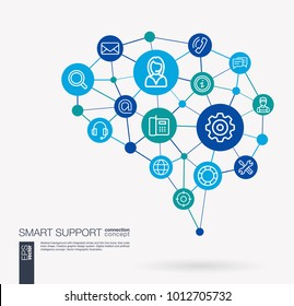 AI creative think system concept. Digital mesh smart brain idea. Futuristic interact neural network grid connect. Support, call center, help service, contact us integrated business vector icons.