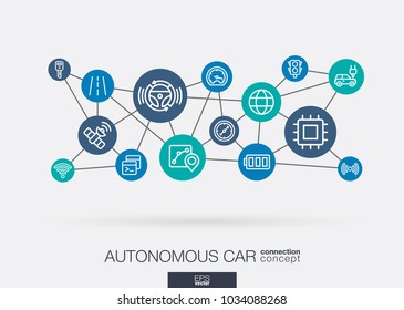 AI creative think system concept. Digital smart mesh idea. Futuristic interact neural network grid connect. Autonomous electric car, self-driving, autopilot integrated business vector thin line icons.