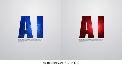 AI, Deep Learning and Future Technology Concept Design - Vector Illustration