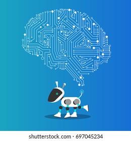 AI dog robot with mechanism illustration