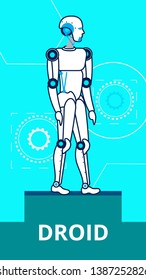 AI Droid Standing on Stage Flat Poster Template. Cartoon Robot Thin Line Illustration. Steel Humanoid Model at Exhibition. Sci-fi Cybernetic Machine. Artificial Intelligence Computerized Assistant