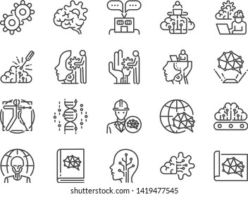 AI engineer line icon set. Included icons as artificial intelligence, robotics, machine learning, robot, automation, humanoid and more.