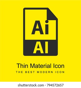 AI file format symbol bright yellow material minimal icon or logo design