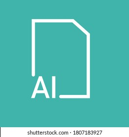 AI file sign vector illustration. Flat symbol icon vector Ui/Ux illustrator File Format Icon. adobe illustrator extension filled icon .ai