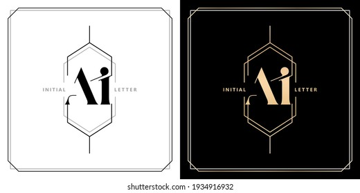 AI or IA initial letter and graphic name with polygonal frames and border, for Wedding couple logo monogram, with two colors variation designs with isolated black white backgrounds