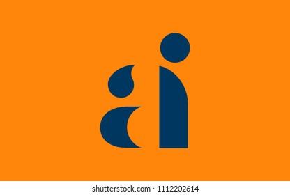 AI IA A I Lowercase Letter Initial Logo Design Template Vector Illustration