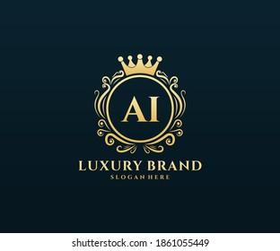 AI Initial Letter Gold calligraphic feminine floral hand drawn heraldic monogram antique vintage style luxury logo design.