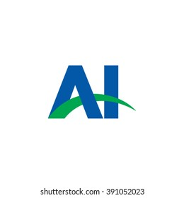 AI initial overlapping swoosh letter logo blue green
