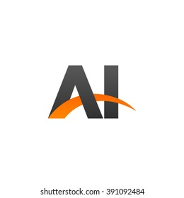 AI initial overlapping swoosh letter logo black orange