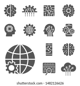 AI and IoT icons set. Symbols  in flat outline design. EPS10