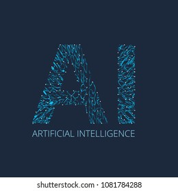 AI Letter (Artificial Intelligence) Vector illustration