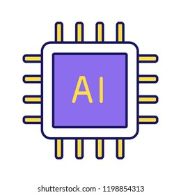 AI processor color icon. Microprocessor for artificial intelligence system. Microchip, chipset. CPU. Central processing unit. Computer, phone processor. Isolated vector illustration