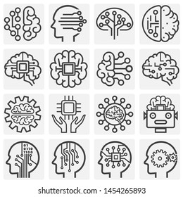 AI related icons set on background for graphic and web design. Simple illustration. Internet concept symbol for website button or mobile app.