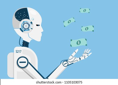 AI robot making money for human business.