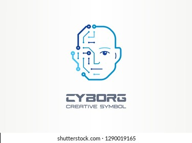 AI robot technology creative symbol machine concept. Digital bionic cyborg face abstract business future logo. Smart humanoid, circuit board icon. Corporate identity logotype, company graphic design