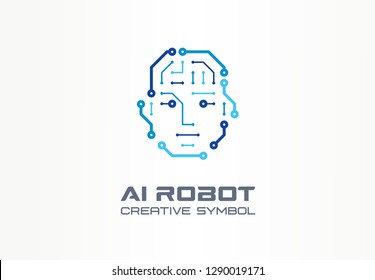 AI robot technology creative symbol machine concept. Digital bionic cyborg face abstract business future logo. Smart humanoid, android, vr icon. Corporate identity logotype, company graphic design