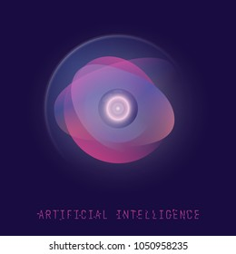 AI technology concept. Futuristic artificial intelligence. Camera eye with gradient circles and glowing. Digital ai vector illustration. Computer communication interface.