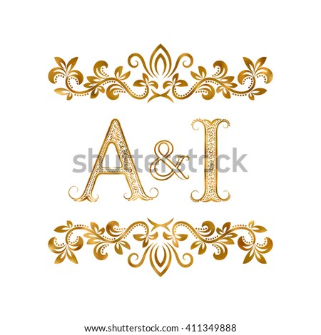 Ai Vintage Initials Logo Symbol Letters Stock Vector Royalty Free