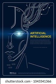 AI(Artificial Intelligence) concept poster. Robot face conect the brain with big data, Internet of things Disruption everything , neural network and deep learning. vector background