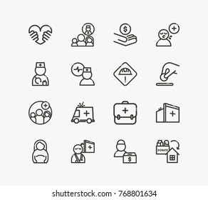 Aid family icon set with medical care, breath flu and ambulance. Set of illness related aid family icon line vector elements for web mobile logo UI design. Vector illustration of aid icon.