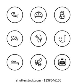 Aid family icons set with medical assistance, doctor and charity food elements. Set of aid family icons and heart pulse concept. Editable vector elements for logo app UI design.