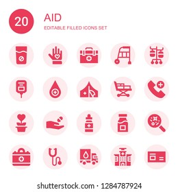 aid icon set. Collection of 20 filled aid icons included Medicine, Voluntary, Veterinarian, Walker, Iv pole, Saline, Blood drop, Red cross, Stretcher, Emergency call, Charity