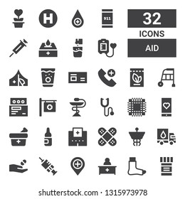 aid icon set. Collection of 32 filled aid icons included Medicine, Broken leg, Pharmacist, Hospital, Vaccination, Donation, Caduceus, Bandage, Ampoule, Medical app, Patch, Phonendoscope