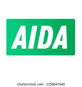 aida advertising sticker, label, stamp on white