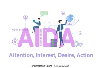 AIDA, Attention, Interest, Desire and Action. Concept with keywords, letters and icons. Colored flat vector illustration on white background.