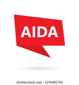 AIDA (Attention Interest Desire Action) acronym on a speach bubble- vector illustration