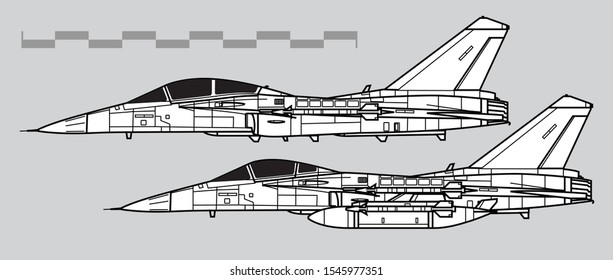 AIDC F-CK-1 Ching-kuo. Outline vector drawing.