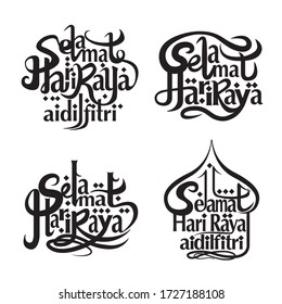 Aidilfitri graphic design Selamat Hari Raya Aidilfitri literally means Feast of Eid al-Fitr.Lettering typography set isolated on white background. Usable for banners, greeting cards,gifts & decoration