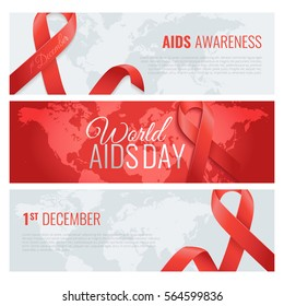 Aids awareness banners with place for your text. World aids day. 1 December is a dayof aids awareness in the world. Red ribbon. Vector illustration